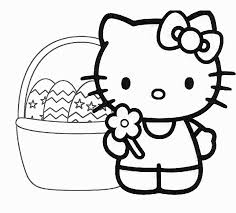 Easter basket decorated with eggs, flowers, bunny and pastry coloring page from easter category. Easter Coloring Pages