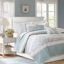 madison park mp13 2801 dawn 6 piece cotton percale quilted coverlet set blue