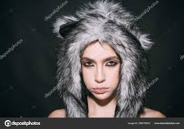 with makeup wears fluffy fur hat with ears like cat cute kitty outfit carnival and ideas woman wear furry hat with little ears like cat or