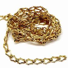 vintage brass designer chain gold plate 08737 b sue boutiques nickel free chain us made chain jewelry