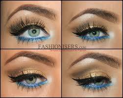 gold makeup tutorial with blue under eye liner