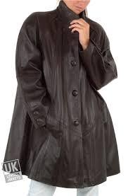 women s brown leather swing coat plus size delia front