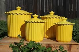 yellow kitchen canisters with lovely lids for kitchen accessories ideas