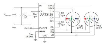 rgb led circuit diagram pwm rgb controller multiple strings of six leds a 24v dc source make for an efficient design a total current of 2 amps will supply 600 leds per color
