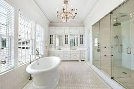 cottage master bathroom with white vanity subway tile and rain large tiles glass shower ra