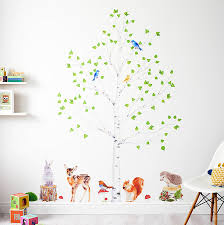 woodland nursery wall stickers animals and tree set