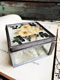 Stained Glass Jewelry Box Designs Vintage Wild Flower Leaded Glass Jewelry Box Display Case