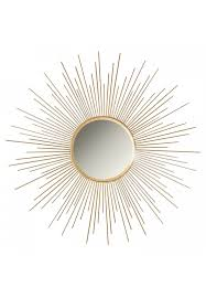 décor s iron metal sun burst mirror in gold color