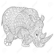 Cartoonrenoster Neushoorn Geïsoleerd Op Een Witte Achtergrond