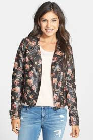 image of jou jou fl print washed faux leather jacket juniors