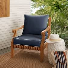 sunbrella navy indoor outdoor chair cushion and pillow set