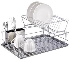 Kitchen Dish Drainer Rack Amazoncom Home Basics 2 Tier Steel Dish Rack With Removable