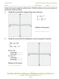 graphing systems of linear equations worksheet doc tessshlo worksheets picture