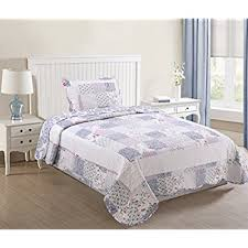 Amazon.com: Romantic Chic Lace Quilt Set (Lavender, Twin Size ... & MarCileo 2 Piece Lightweight Quilts Set Bedspread Quilt Throw Blanket for  All Season Bed Printed Bedding Adamdwight.com
