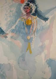 white pollera watercolor by al sprague part of the personal collection of