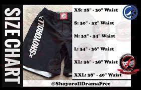 Shoyoroll Nogi Shorts Size Chart Bjj New Gear