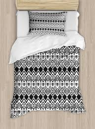 modern duvet cover set geometric design with modern hippie zig zags triangles squares artful print decorative bedding set with pillow shams