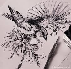 эскиз тату с птицей цветами и небольшим ключиком птицы эскиз