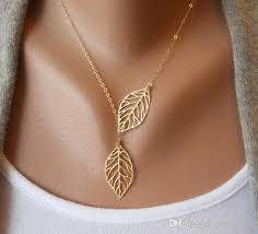 whole simple european new fashion vintage punk gold hollow two leaf leaves pendant necklace clavicle chain charm jewelry women unique jewelry best
