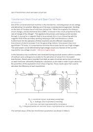 Transformer Design Parameters Lab 3 Transformers Short And Open Circuit Test
