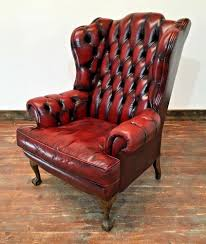 oxblood red leather wing back chesterfield armchair on back unbranded chesterfield