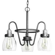 rustic lighting chandeliers. Progress Lighting Crofton Collection 3-light Rustic Pewter Chandelier With Brushed Nickel Accents And Clear Chandeliers