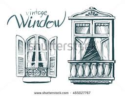 vintage window drawing. vintage window. vector sketch window drawing