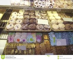 Cookies At A Counter Fresh Market Bakery Or Cafe Confectionery