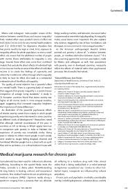 medical marijuana research for chronic pain the lancet psychiatry first page of article