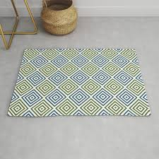 olive green teal and white diamond rhombus pattern rug