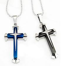 men s stainless steel cross crucifix charm pendant long dog tag chain necklace