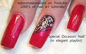 Red and Black Lace Nails Design | Long Nail Art Tutorial - YouTube
