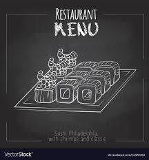 Menu Drawing Design Chalk Drawing Sushi Menu Design