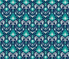 Navy and Teal Ikat fabric by sweetzoeshop on Spoonflower - custom fabric