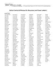 Action Verbs Phrases For Resumes And Cover Letters Education