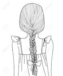スケッチ スタイル黒線かわいい女の子三つ編み髪型のイラスト素材