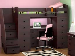 twin loft bed with stairs and desk