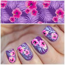 Tropical Nails inspired by Victoria's Secret Wallpaper