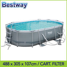 oval steel frame ground swimming pool