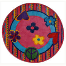 la rug fun time shape peace out 4 ft round area rug