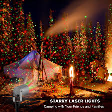 Camping Christmas Lights Starry 2 Color Motion Laser Light Star Projector With Rf
