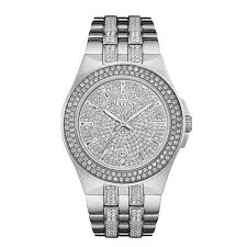 bulova watches men s women s bulova watches from zales men s bulova crystal accent watch silver tone dial model 96b235