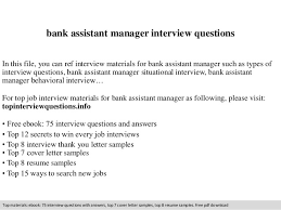 Bank Manager Interview Questions Bank Assistant Manager Interview Questions