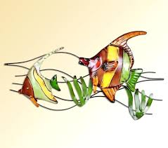 modern home decoration metal wall art cute fish seaweed sculptures stained red green yellow contemporary glass