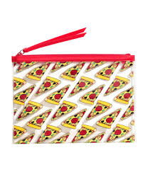pizza print makeup bag in clear plastic with red zip h m gifts