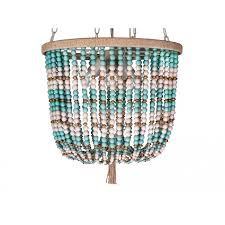 dd wood bead pendant lamp white and turquoise