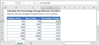 calculate percene change between