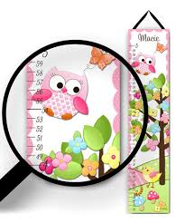 Toad And Lily Growth Chart Toad And Lily Pink Owl Personalized Growth Chart