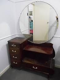 vintage dresser with round mirror 1950s vintage timber dressing table with round mirror for the