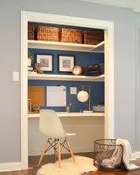 desk in closet.  Desk Add A Home Office To Spare Closet And Desk In Pinterest